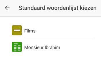 Kies een standaard woordenlijst