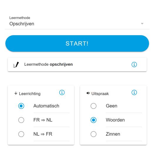 Nieuw start leren scherm